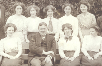 East London College students with Mr Hilaire Belloc, Head of the Department of English Language and Literature, 1913.