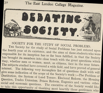 "Article on ""The Society of the Study of Social Problems"" from the East London College Magazine, 1910."