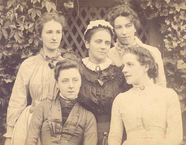 Original Westfield staff, 1888. Pictured here are: (back row left to right) Anne Richardson, Constance Maynard, Mable Beloe, (front row left to right) Caroline Willoughby, Frances Ralph Gray.